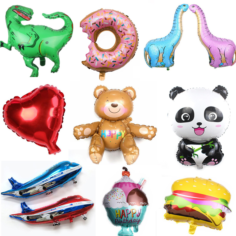 Large Size 3D Bear Panda Dinosaur Donut Cartoon Animal Party Toys Balloons Ribbons Foil Balloons Birthday Party Toys For Childre