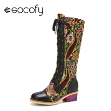 Woman Boots SOCOFY Heel Women's Shoes Floral Retro Winter Genuine-Leather Fashion Comfy-Block