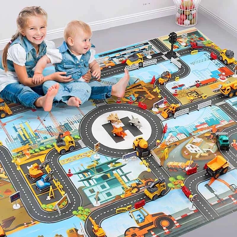 Детский игровой коврик, детский городской Дорожный Коврик для зданий, парковочная карта, игровой коврик для сцены, Дорожная карта, игрушечн...
