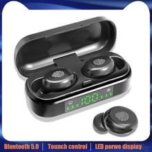 V8 TWS Bluetooth 5.0 אוזניות אלחוטי אוזניות 8D סטריאו ספורט אוזניות טביעת אצבע מגע LED דיגיטלי תצוגת HD שיחת אוזניות