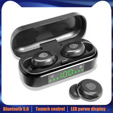 V8 TWS Bluetooth 5.0 earphones wireless headphones 8D Stereo Sport Headset Fingerprint Touch LED Digital Display HD Call earbuds