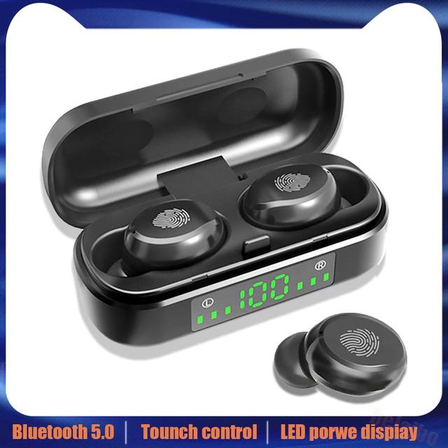 V8 TWS Bluetooth 5.0 kulaklık kablosuz kulaklıklar 8D Stereo spor kulaklık parmak izi dokunmatik LED dijital ekran HD çağrı kulaklık