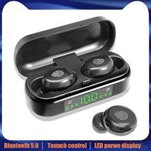 V8 Tws Bluetooth 5.0 Koptelefoon Draadloze Hoofdtelefoon 8D Stereo Sport Headset Vingerafdruk Touch Led Digitale Display Hd Oproep Oordopjes
