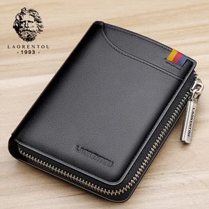 Image 3 - Мужской короткий кошелек LAORENTOU, Черный Повседневный бумажник из натуральной кожи, на молнии, с отделением для монет,