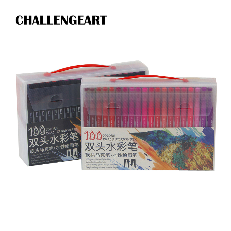 фломастеры Brush Marker Set 12/24/36/48/60/72/100/120 Color Pen Lettering Calligraphy Dual Brush Pen Art Markers School Supplies