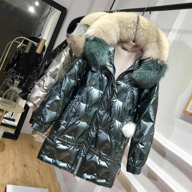 נשים מעיל חורף ברווז ברדס גדול שועל פרווה צווארון המשאף מעיל קוריאני מבריק נשים למטה מעילי 2020 KJ4921