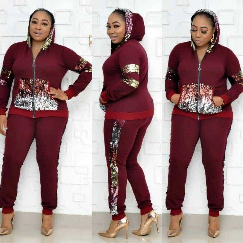 2020 African Sets For Women Tracksuit Sportswear Office Phoenix Sequined Sweatshirt+ Pant 2pcs Women's Set Outfits Suit