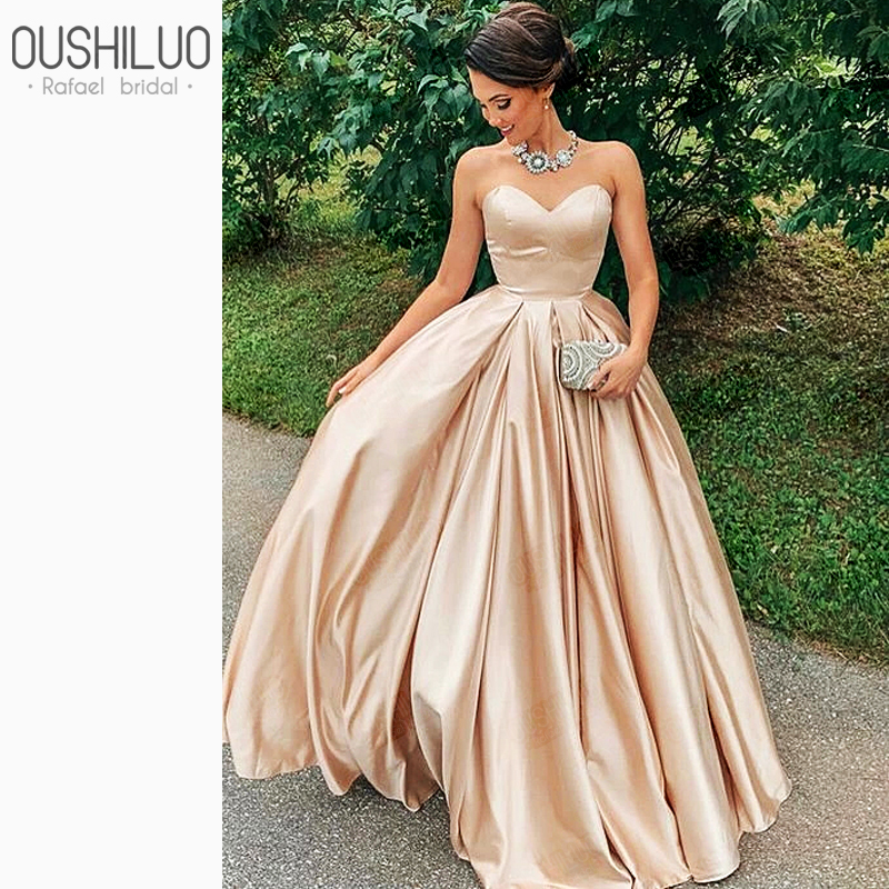 Puffy A Line Prom Dresses Lovely Sweetheart Backless Champagne Satin Party Wear Custom Made Floor Lenth Ruffle Princess Gown