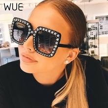 WUE Oversize sunglasses Top Rhinestone Luxury Brand