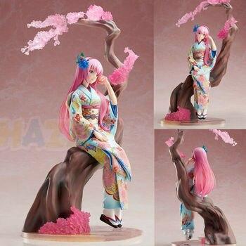 Hatsune Miku Megurine Luka Flower Kimono PVC Action Figure Model Toys Collection Anime Figure Toys Doll Gifts in Box 10inch