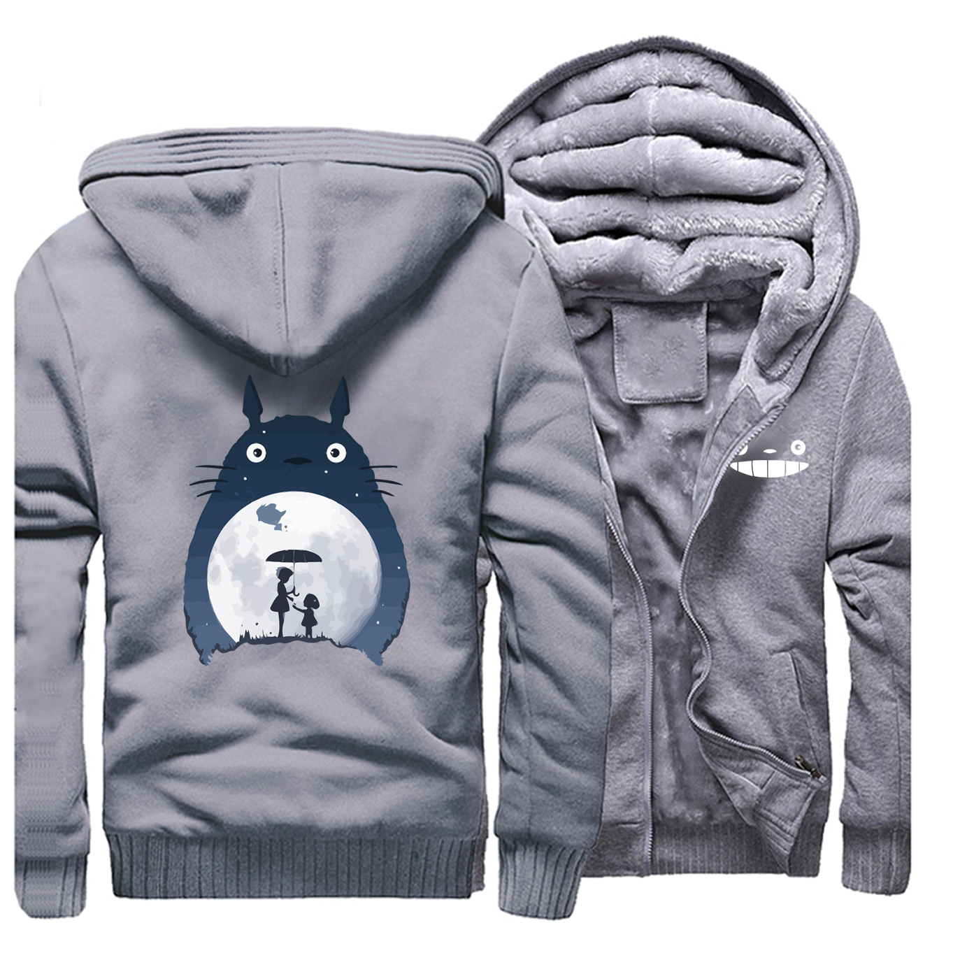 Tonari No Totoro Men Thick Hoodies Sweatshirts Fleece Warm Zipper Coa Vintage Japanese Anime Jacket Streetwear Winter Hoodie