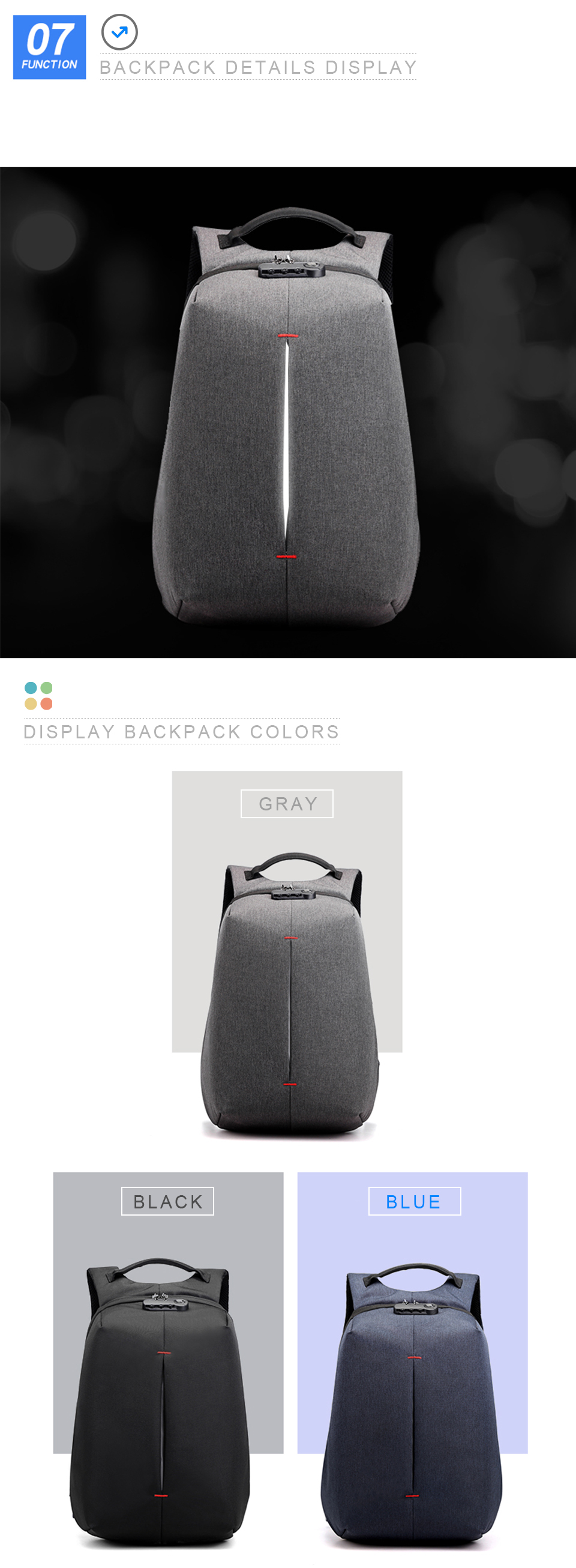 Laptop Backpack 15.6 Inch Notebook Back Pack Anti Theft Business Men Travel Bags Waterproof Male USB Charging Student Bagpack (8)
