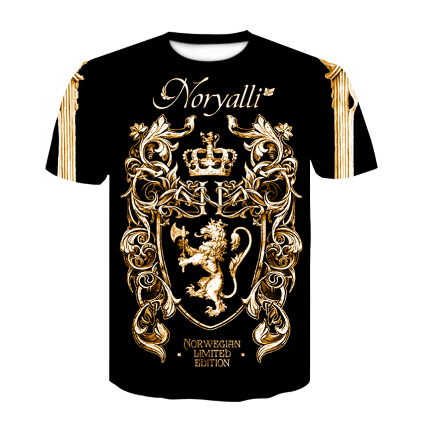Novelty 3D Golden Chain Print Baroque Brand T-shirt 2019 Summer Style Short Sleeve Luxury Royal Men Clothes Hip Hop Tops Tees