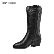 2020 New Women Boots Fashion Ankle Boots Autumn Pu Leather Wedges High Heel Western Cowboy Boots Pointed Toe Winter Plush Shoes brand sheep skin leather mesh air pumps fashion ankle boots for women sexy pointed toe cowboy boots woman high heel summer boots