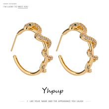 Yhpup Delicate Snake Twisted Round Hollow Stud Earrings Luxury Shiny Cubic Zirconia Charm Earrings Jewelry Anniversary Gift