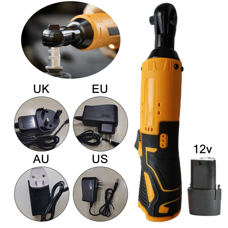 2020 Cordless Electric Ratchet Wrench 12V Lithium-Ion Battery Charger Kit 3/8