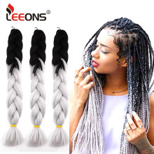 "Leeons New Jumbo Braid Hair Hair Extension 24""Rainbow Hair Braiding White Kanekalon Braiding Hair Colors Silver Box Braid Hair(China)"