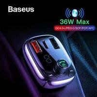 Baseus Quick Charge 4,0 автомобильное зарядное устройство для телефона fm-передатчик Bluetooth автомобильный аудио-mp3-плеер быстрое двойное USB Автомобильн...
