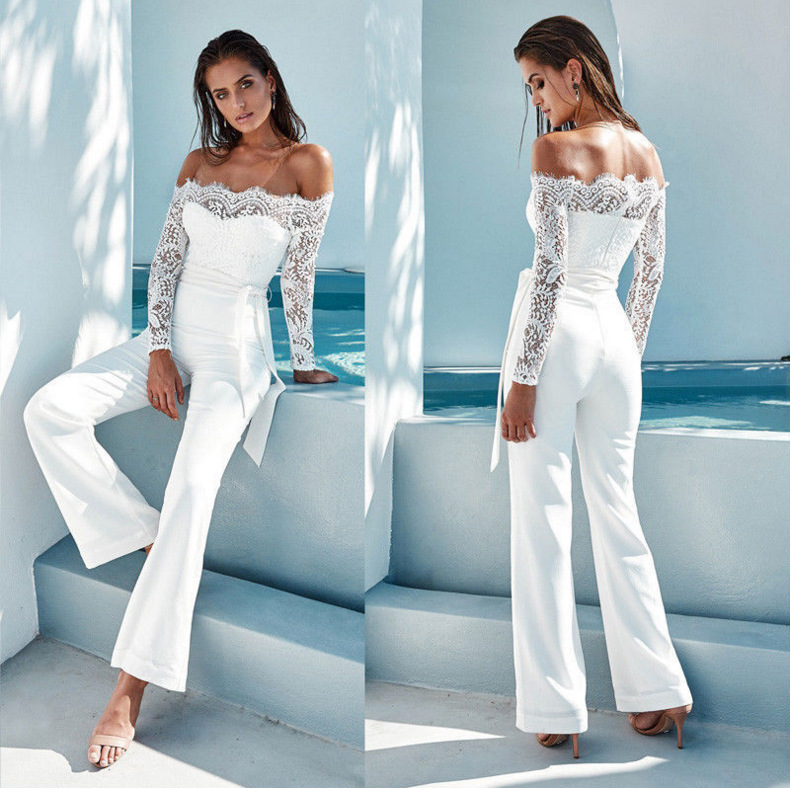 Women Sexy Off The Shoulder Elegant Overalls Rompers Patchwork Jumpsuit Female Long Sleeve Lace Overall Trousers Party Playsuit