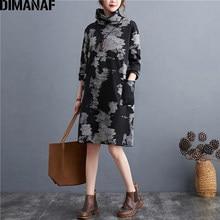 DIMANAF sukienka damska Plus Size w stylu vintage z długim rękawem z golfem zima flokowanie kwiecisty nadruk kobiet Vestidos bawełniane grube luźne