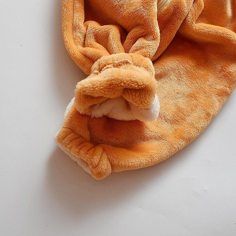 Купить с кэшбэком Newborn Sleepwear Robe Jumpsuit Kids Children Sleep Pajamas Overalls Toddler Pyjama Baby Cartoon Animals Flannel Warm Bathrobe