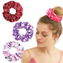 Multicolor Dot Floral Women Solid Scrunchies Lady Elastic Headbands Satin Hairbands Girls Hair Tie Hair Rope Hair Accessories(China)