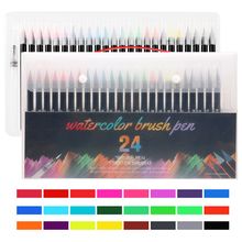 купить 48 Color Soft Head Watercolor Brush Pens Art Marker Pens for Drawing Coloring Books Manga Calligraphy School Supplies Stationery по цене 574.21 рублей