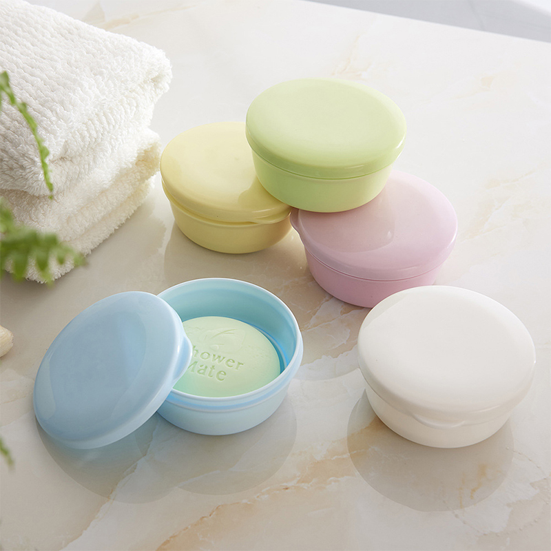 Soap Box Creative Travel Sealing Soap Box Portable Round Handmade Soap Soap Box Double Plastic Bathroom Soap Box