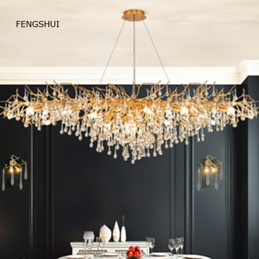 Nordic Light Luxury Crystal Pendant Lamps Creative Led Branches Living Dining Room French Hanging Lamp Villa Decor Luminaries