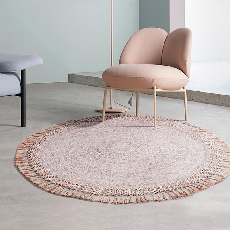 Tapis ronds en laine pour chambre tapis de chaise de salle d'étude avec gland inde tapis importés pour salon Tatami tissé à la main karpet