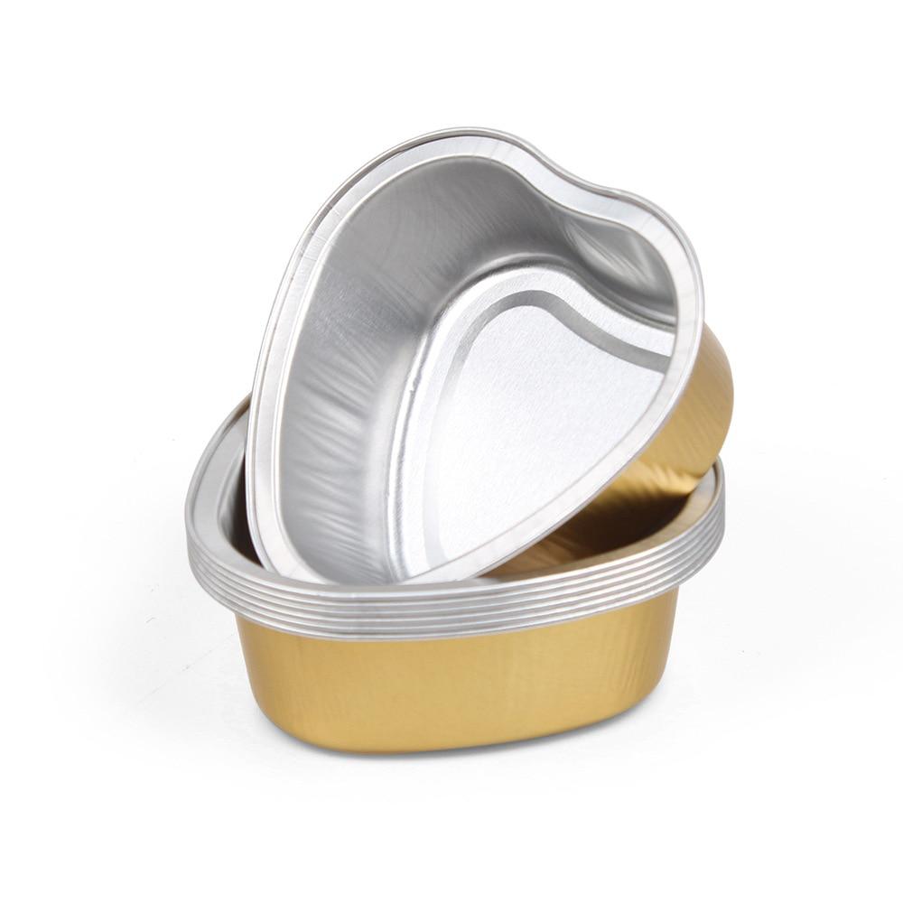 1/5/10pcs Heart Shape Melting Wax Beans Bowl Aluminum Gold Foil Depilatory Hard Wax Pellet Waxing Bowl  Hair Removal Tool
