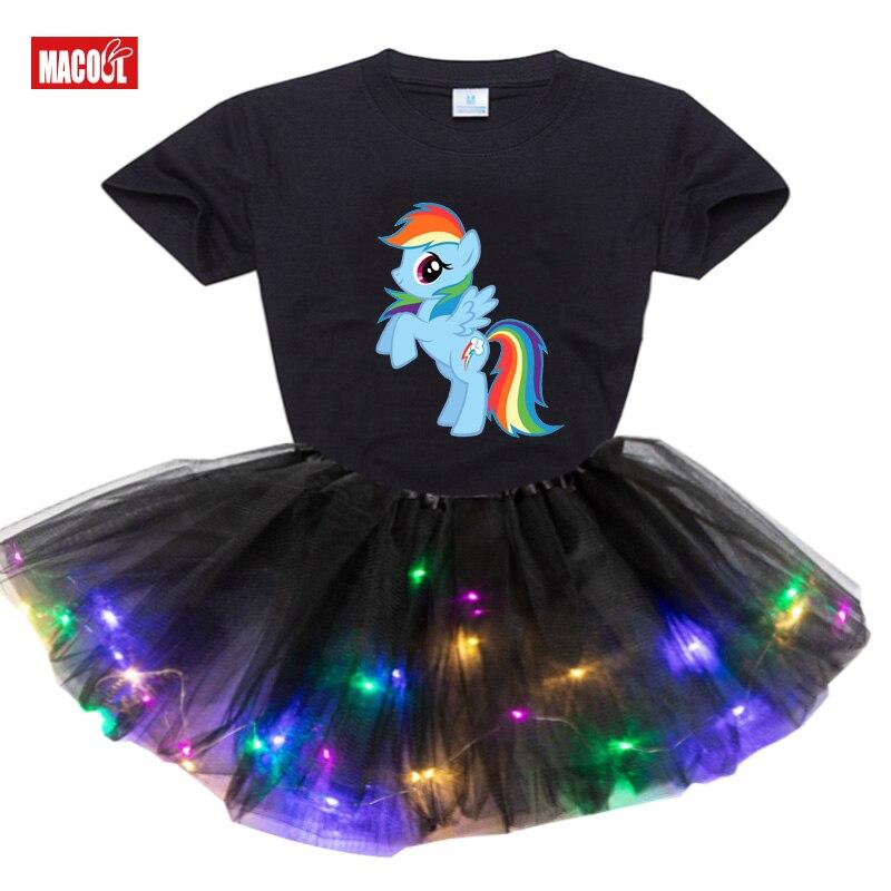 tutu Dress 2021 Summer Kids Girls Clothes Set Cartoon print Short T-shirt +Dress 2pcs Clothing Sets 3-7Y baby Girls tutu Dress