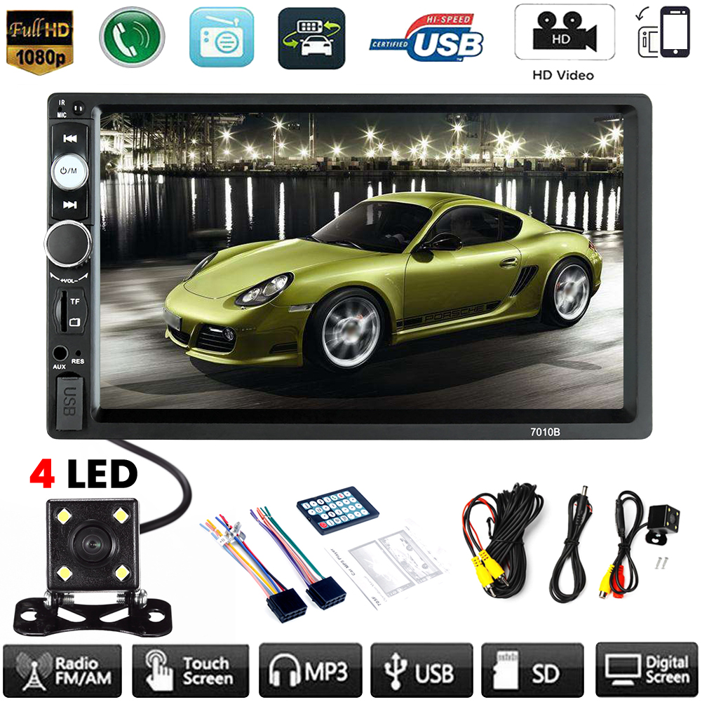 7inch Double 2 DIN Aux Input Auto Car MP5 Player Bluetooth Touch Screen Stereo Radio + Camera USB /TF FM  Camera