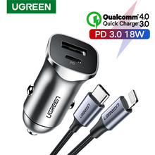 UGREEN PD Car Charger Quick Charge 4.0 3.0 QC USB Charger for Xiaomi QC4.0 QC3.0 18W Type C PD Car Charging for iPhone 11 X Xs 8
