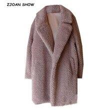 Зимняя курчавая куртка с длинным ворсом искусственное меховое пальто розовая Женская длинная куртка с длинными рукавами из овечьего меха