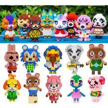 28 estilos animal blocos de cruzamento raymond 3d modelo diy mini blocos de diamante tijolos brinquedo construção para crianças presente legoeing