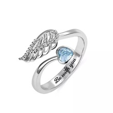 Strollgirl 925 Sterling Silver Personalized Carved Rings with Angel Wings Customized Fashion Shiny Birthstone Ring Jewelry Gifts