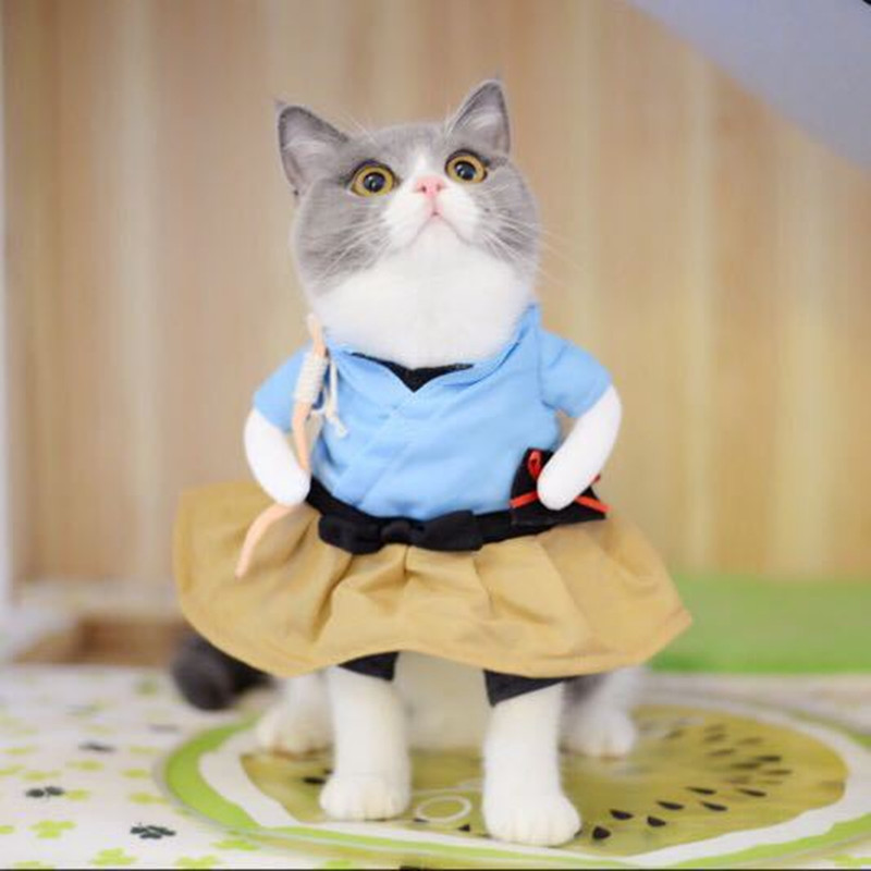 Funny Cat Dog Costume Uniform Suit Cat Clothes Costume Puppy Clothes Dressing Up Suit Party Clothing For Cat Cosplay Clothes 3