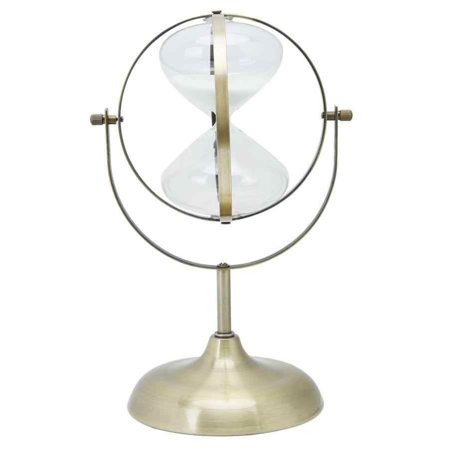 Areia temporizador do vintage rotativa areia relógio ampulheta metal vidro areia temporizador para decoração de casa presente casamento 60 minutos ampulheta