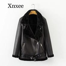 цена на Winter Faux Lamb Leather Jacket Women Faux Leather Lambs Wool Fur Collar Suede Jacket Coats Female Warm Thick Outerwear tendy