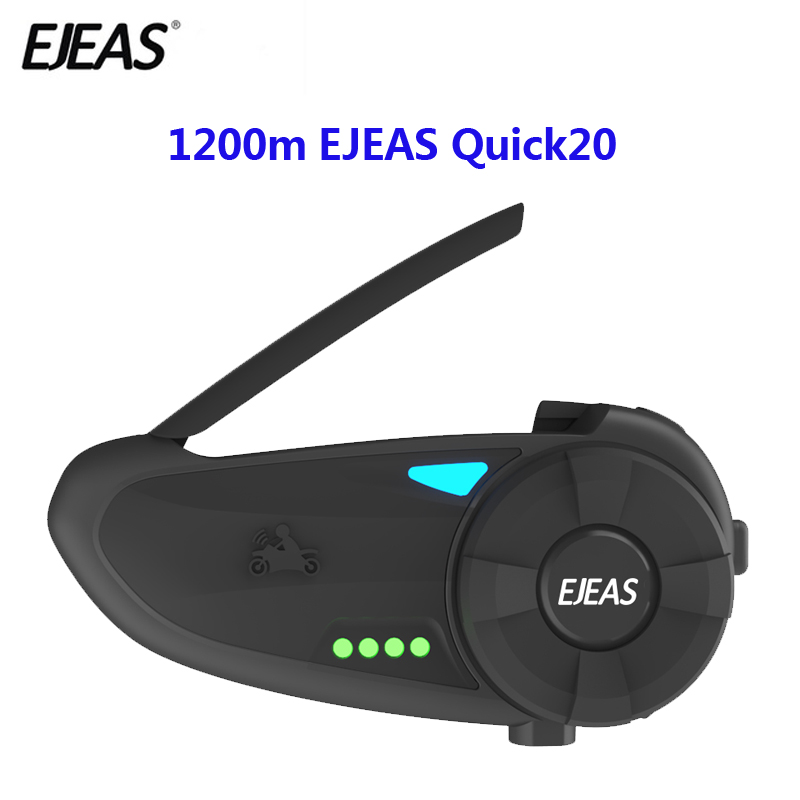 1.2km Quick20 Bluetooth 4.2 Motorcycle Intercom Headset Raid Pair With FM Radio Turntable Battery Indicator For 2 Riders