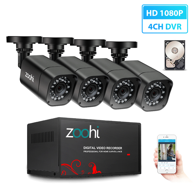 Zoohi 1080P 4CH HD Home Surveillance CCTV Security Camera System Outdoor 1TB HDD