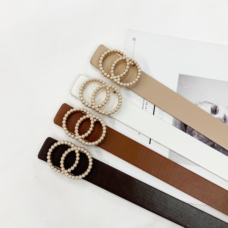 Pearl Belt Buckle Faux Leather Double Ring Buckle Vintage Decorative Casual Tighten All-Match Long Women Belt Solid Holes