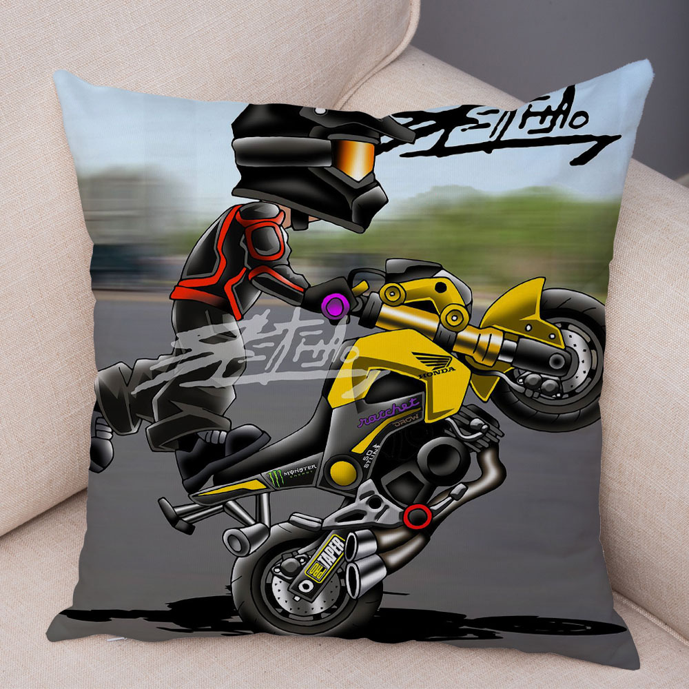 Extreme Sports Cushion Cover Decor Cartoon Motorcycle Pillowcase Soft Plush Colorful Mobile Bike Pillow Case for Sofa Home Car 31