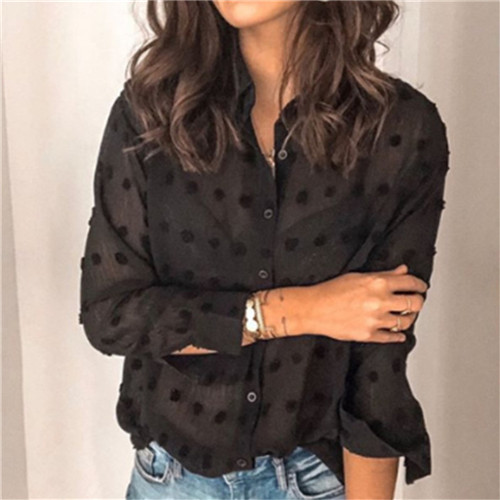 Womens Tops Blouses Elegant Long Sleeve See-through Sheer Mesh Polka Dot Loose OL Shirt Ladies Chiffon Blouse Summer blusa 9