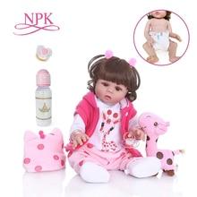 NPK 48 CM bebe pop reborn peuter meisje pop in roze jurk full body zachte siliconen realistische baby Bad speelgoed waterdicht
