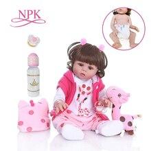 Npk 48 cm bebe doll reborn 유아 소녀 인형 핑크 드레스 전신 부드러운 실리콘 현실적인 아기 목욕 장난감 방수