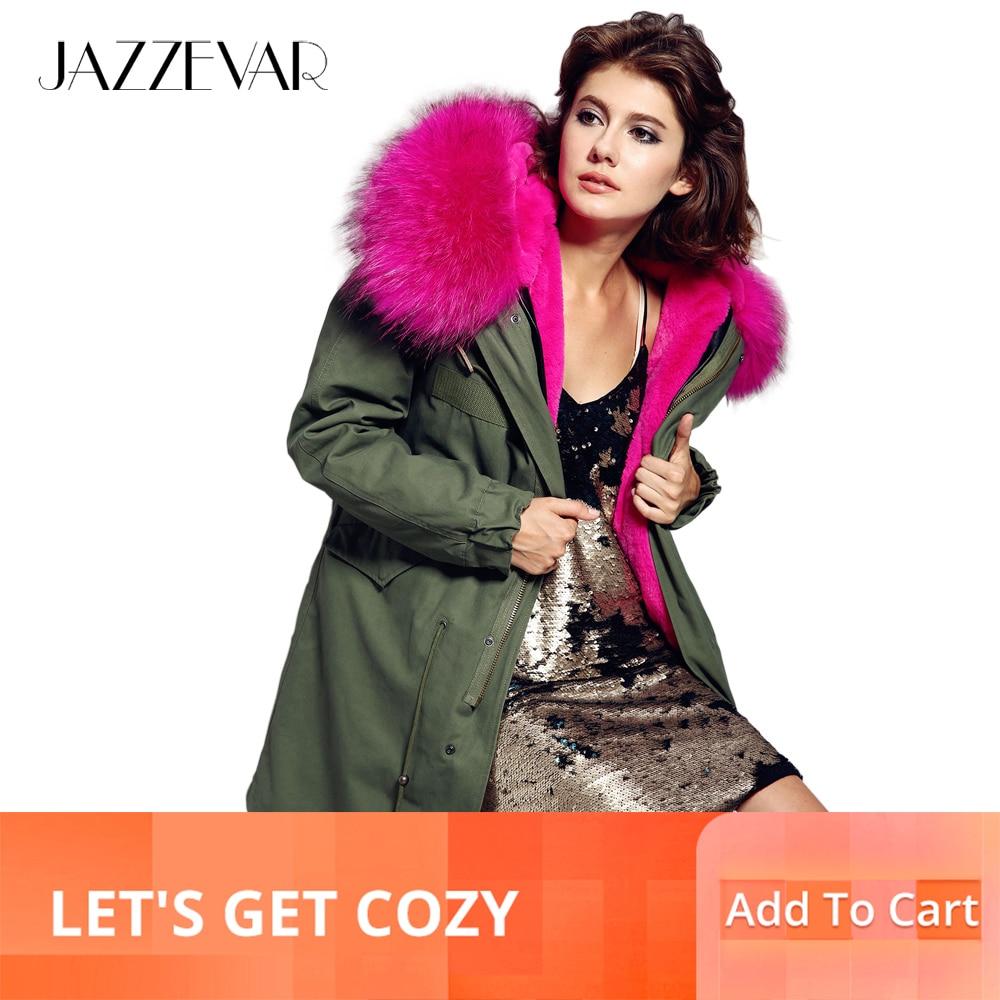 Jazzevar 2019 코트 여성 군대 녹색 대형 컬러 너구리 모피 후드 파커 아웃웨어 긴 분리형 안감 겨울 자켓-에서파카부터 여성 의류 의  그룹 1