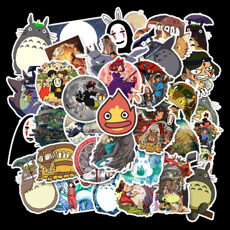 50pcs no repetition Japanese anime Hayao Miyazaki movie stickers Trolley Case skateboard graffiti stickers removable image