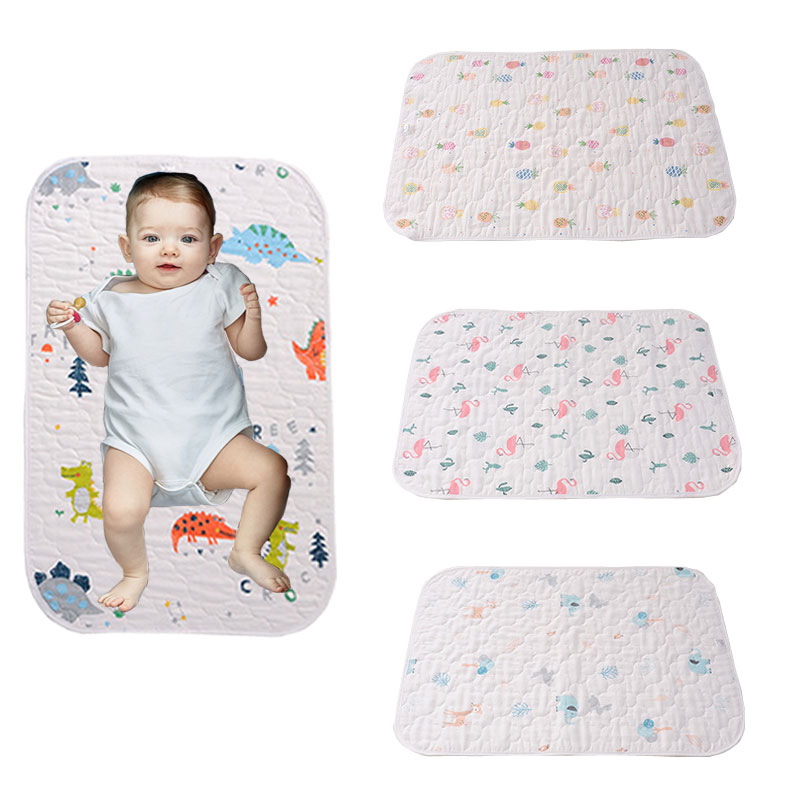 HereNice Baby Crib Fitted Bed Sheet Infant Mattress Cover Kids Waterpfoof Bedding Set Mat Girls Boys Dinosaur Cartoon Diaper Pad